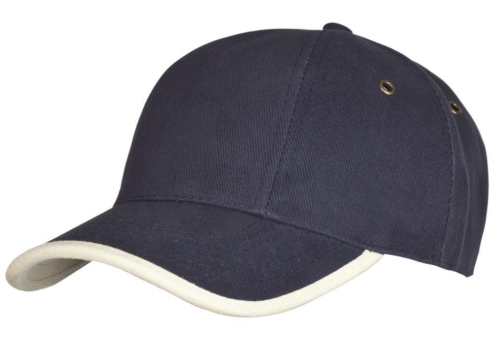 Бейсболка Unit Trendy, темно-синяя с бежевым