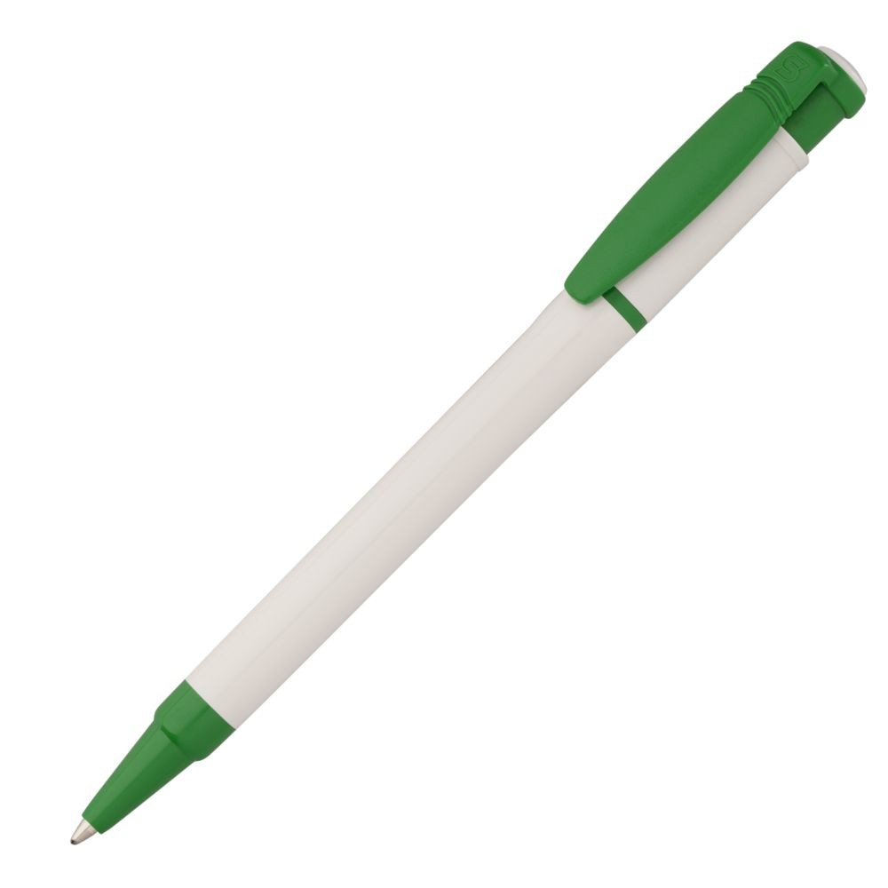 Ручка шариковая Kreta, белая с зеленым