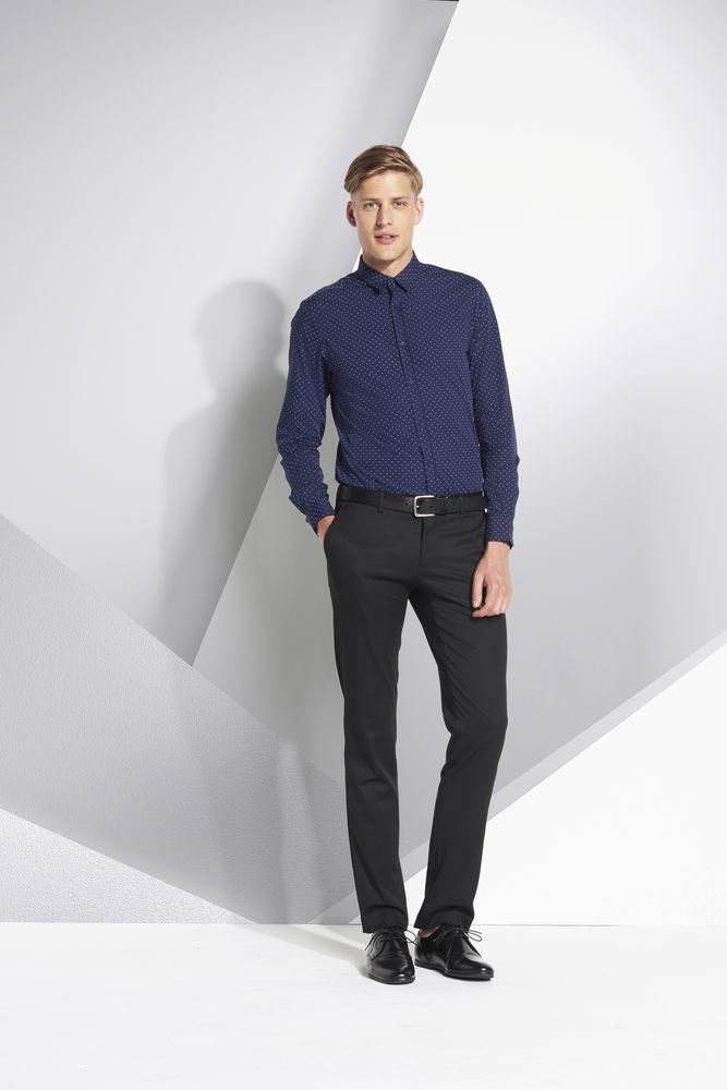 Рубашка мужская BECKER MEN, темно-синяя с белым