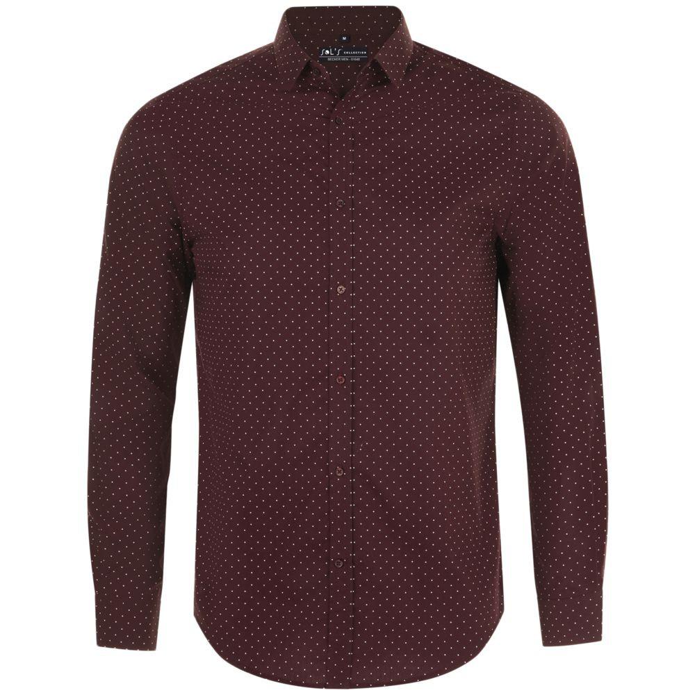 Рубашка мужская BECKER MEN, бордовая с белым