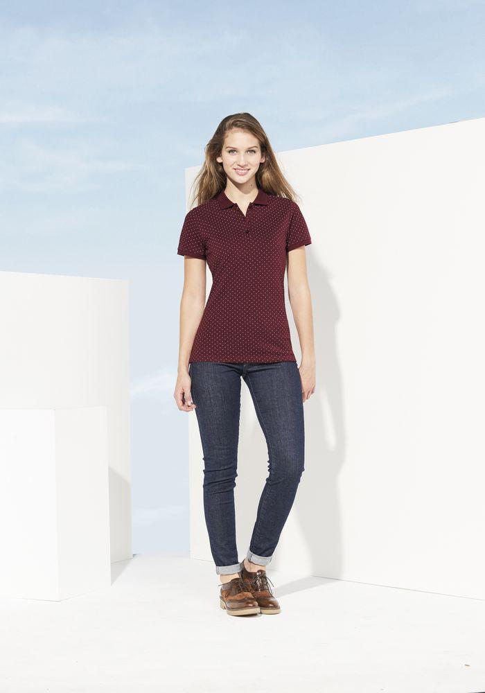 Рубашка поло женская BRANDY WOMEN, бордовая с белым