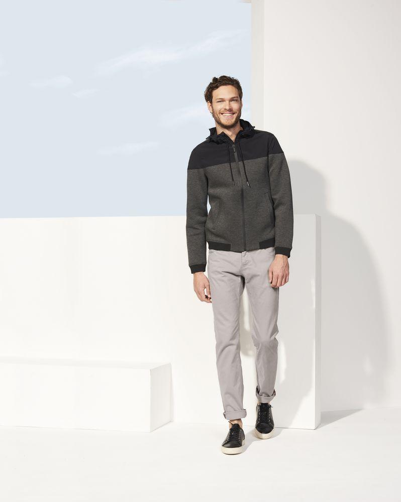 Куртка унисекс VOLTAGE, серый меланж с темно-синим