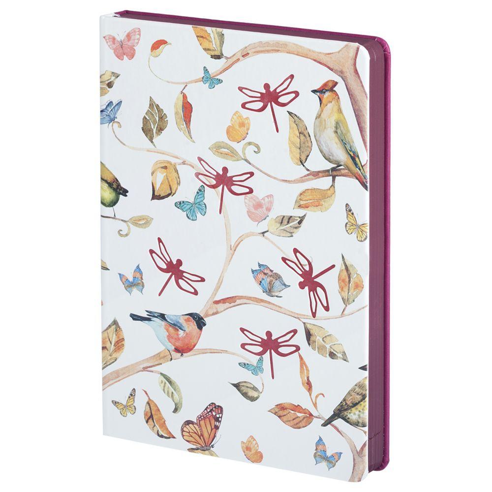 Ежедневник Butterfly, недатированный, белый с бордовым