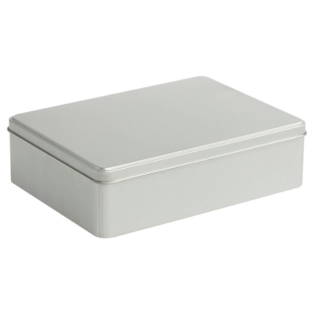 Коробка прямоугольная, большая, серебристая