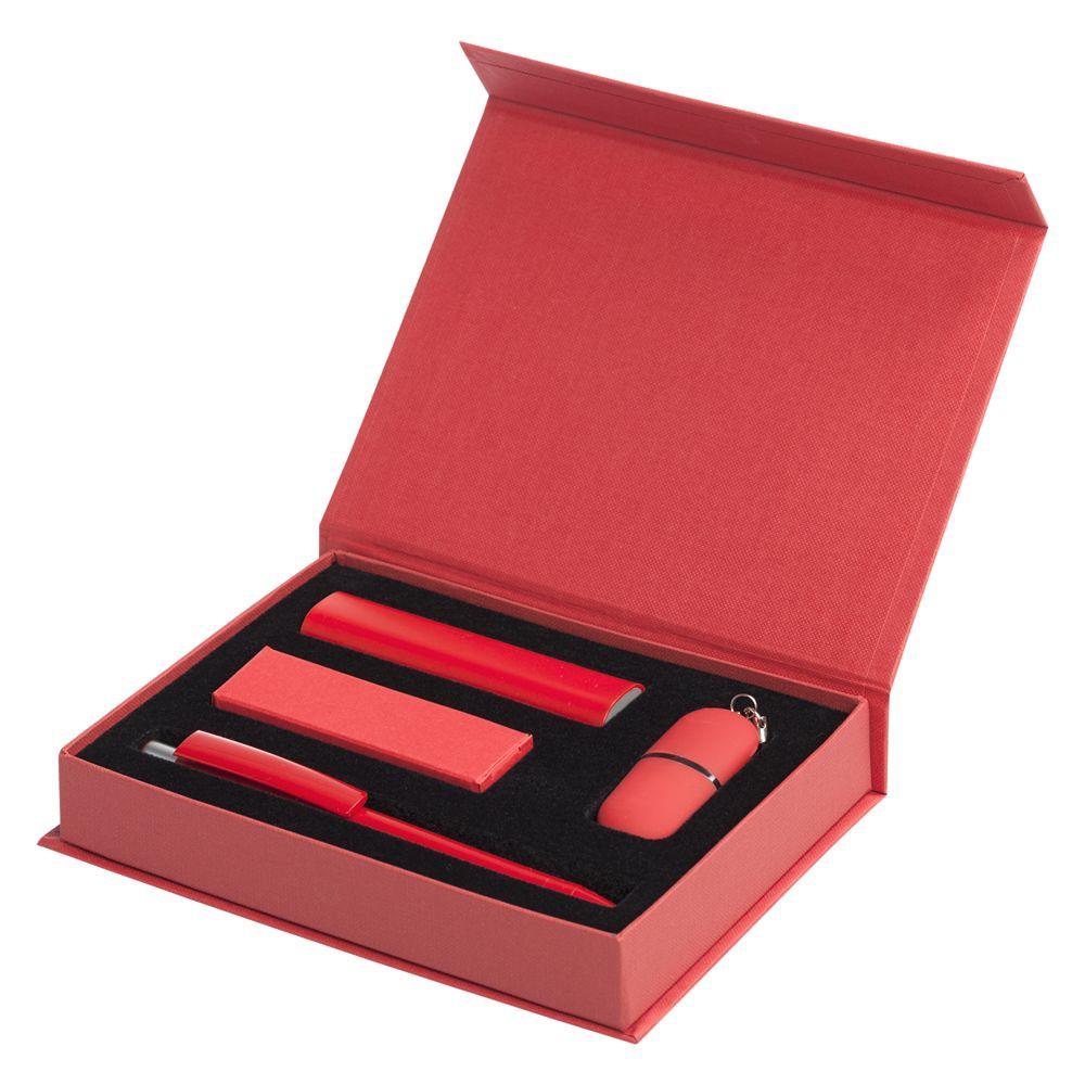 Набор Bond: аккумулятор, флешка и ручка, красный