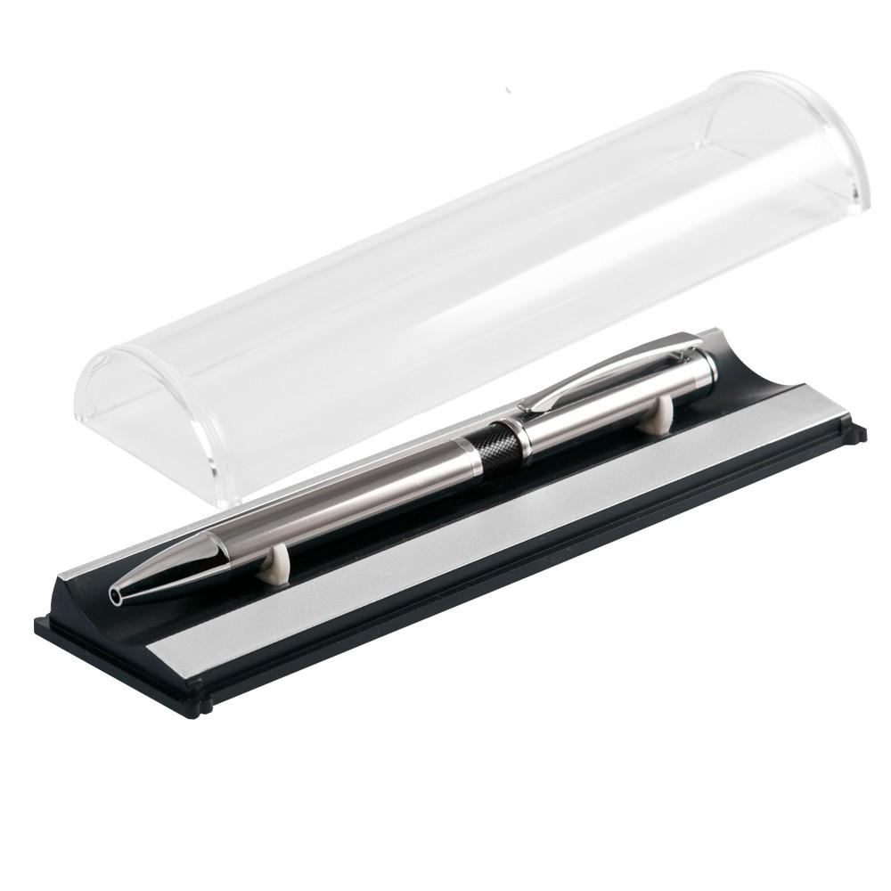 Шариковая ручка, iP, металл., наж. мех-м, черный, сил. стилус, чернила синие, В УПАКОВКЕ