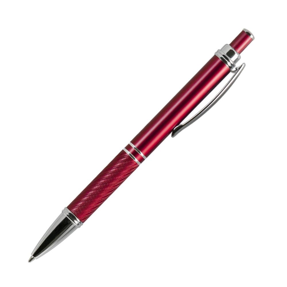 Шариковая ручка, Crocus,корпус- алюминий, покрытие красный, отделка-гравировка, хром. детали