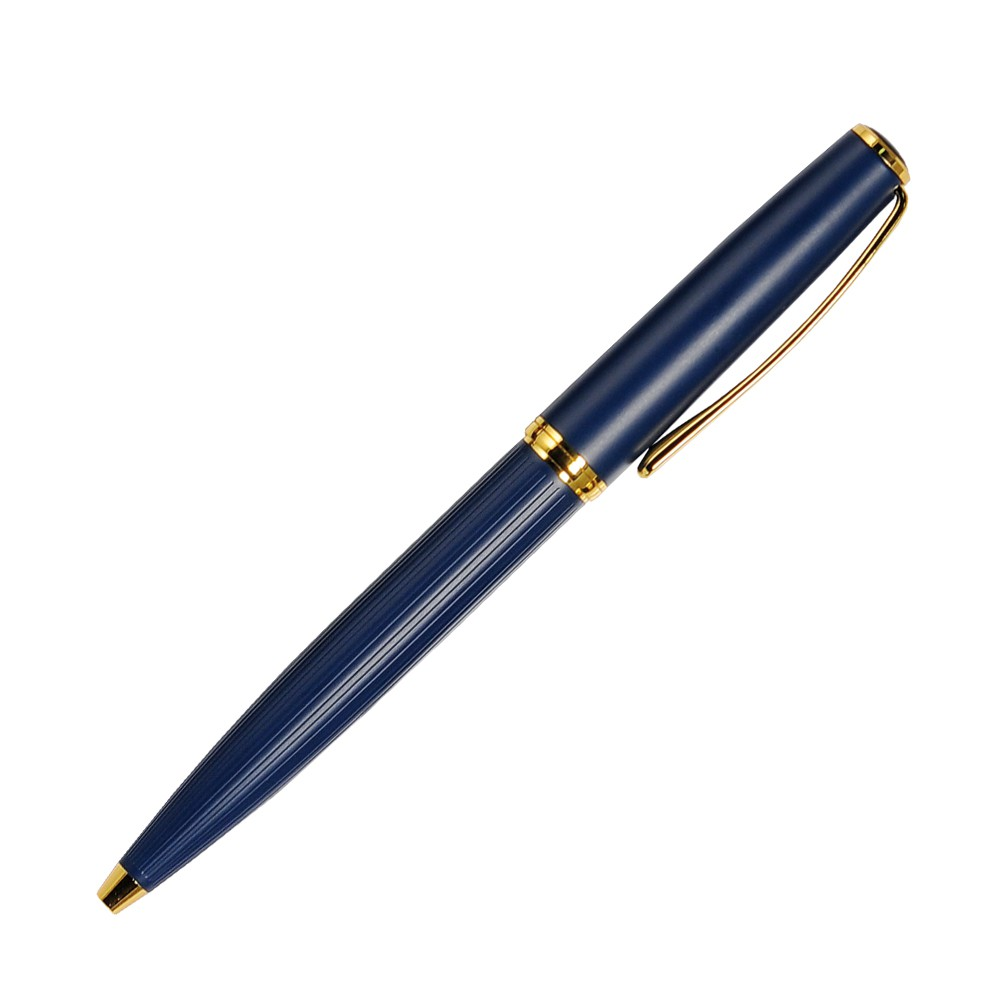 Шариковая ручка, Opera, поворотный мех-м, синий матовый, отделка позолота. в упак с лого