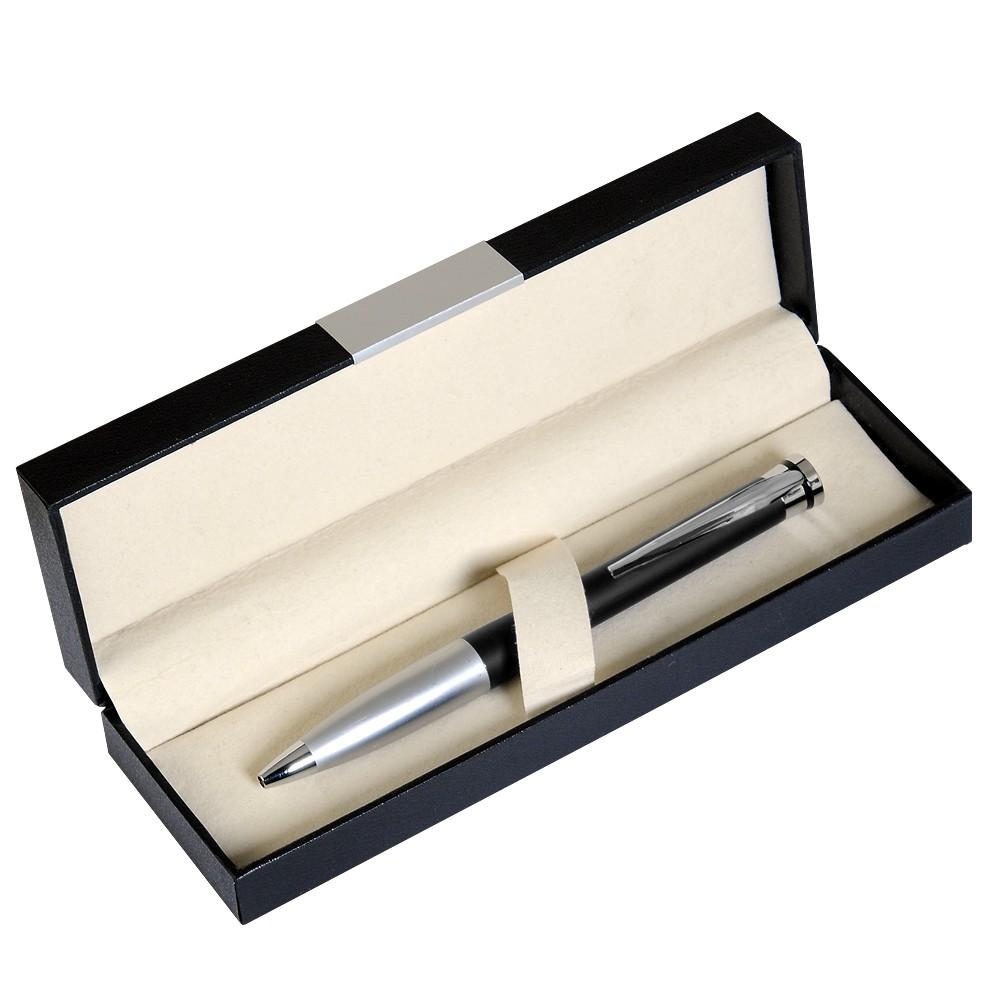 Шариковая ручка, латунь, покрытие мат. черный лак, отделка - мат. серебр., Megapolis, чернила синие. В УПАКОВКЕ