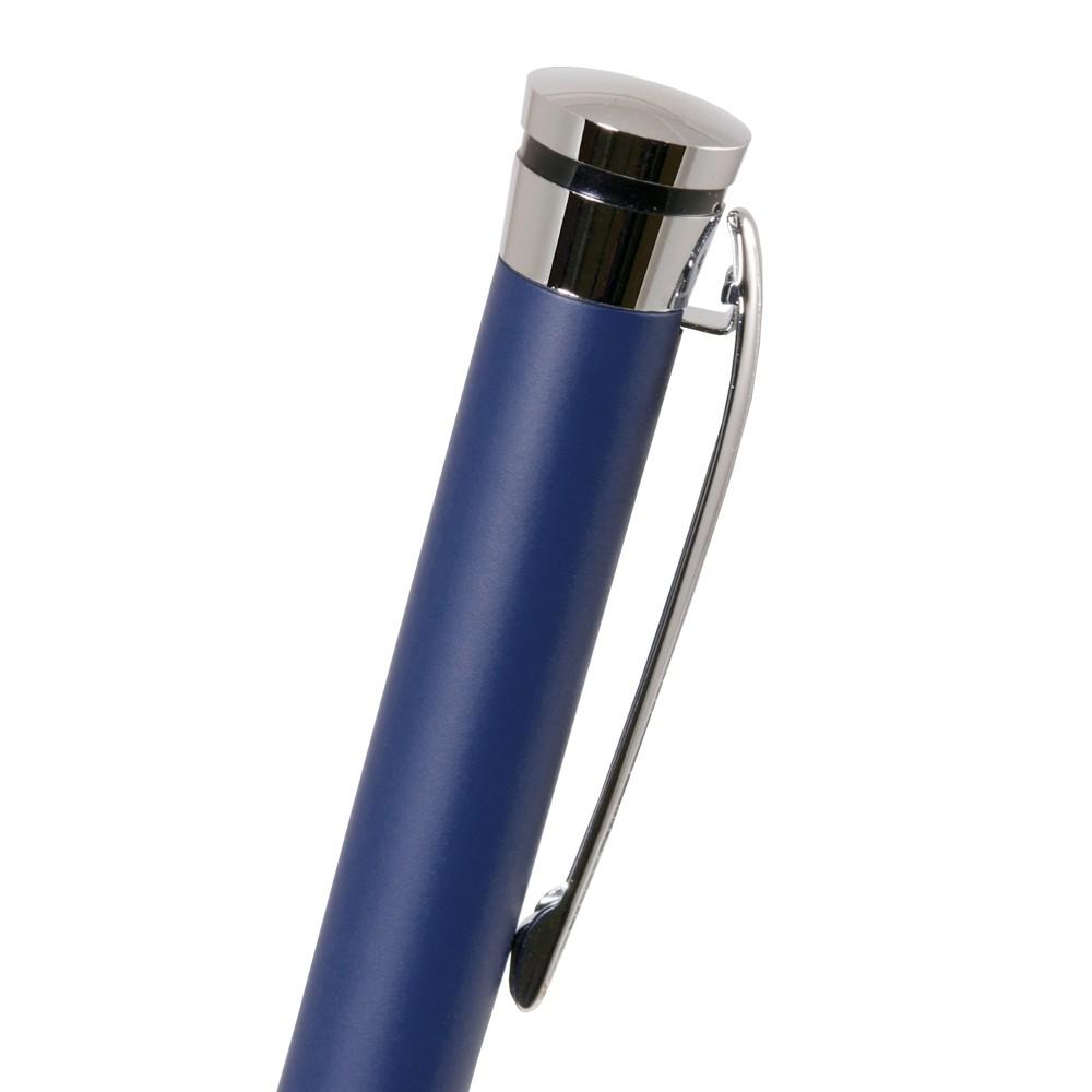Шариковая ручка, Megapolis, корпус- латунь, покрытие мат. синий лак, отделка - мат. серебро