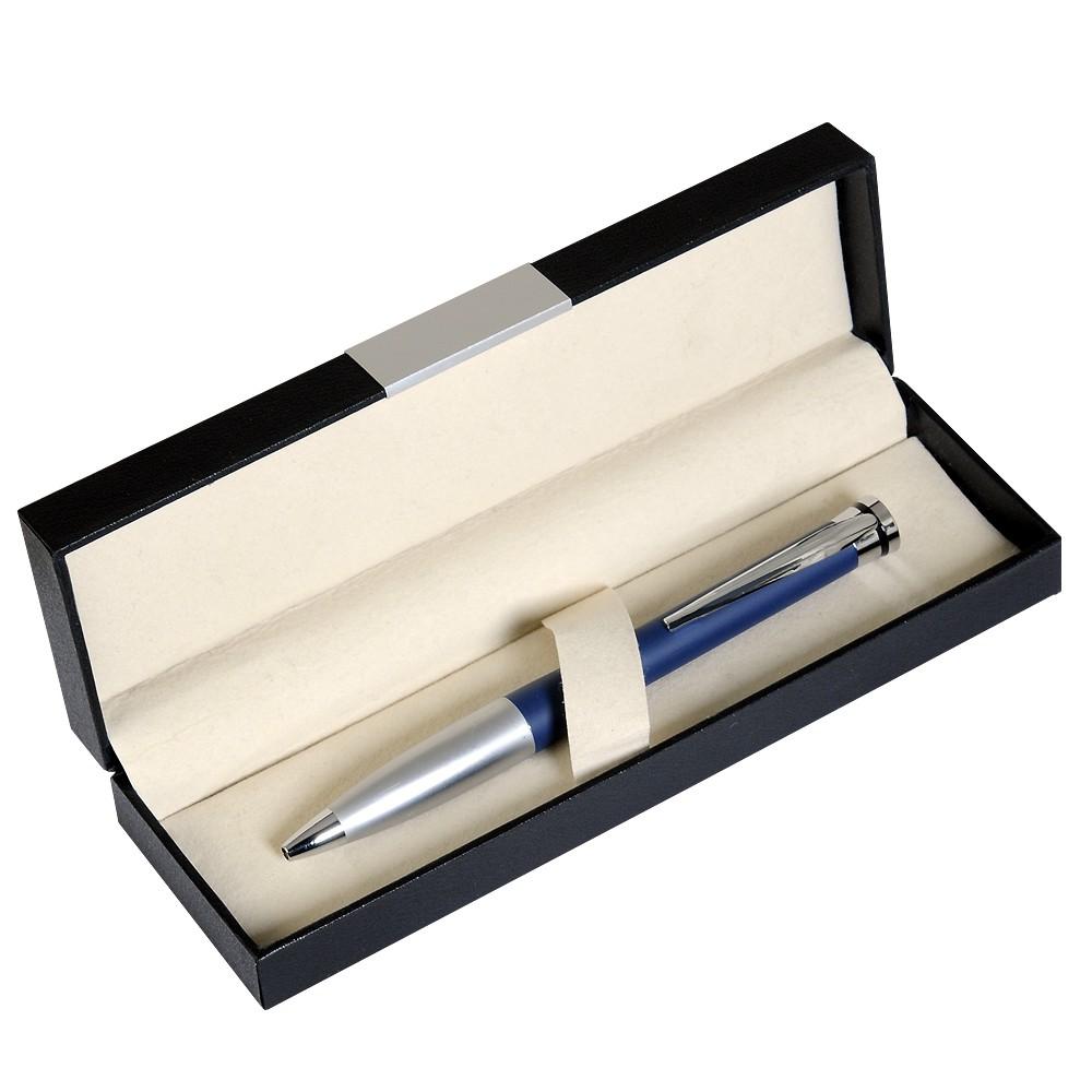 Шариковая ручка, латунь, покрытие мат. синий лак, отделка - мат. серебр., Megapolis, чернила синие. В УПАКОВКЕ