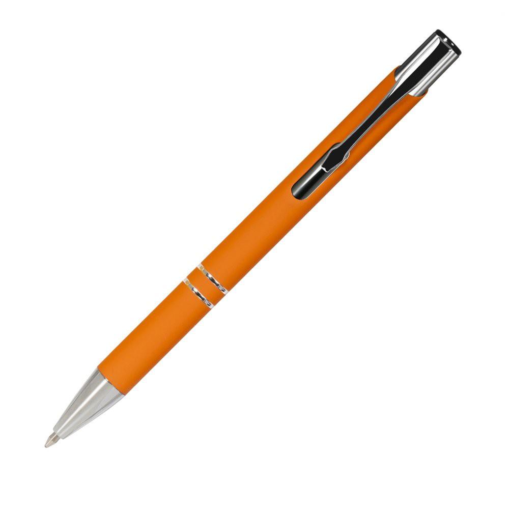 Шариковая ручка, Alpha, нажимной мех-м,корпус-алюминий,отд.-хром,покрытие-soft touch, оранжевый