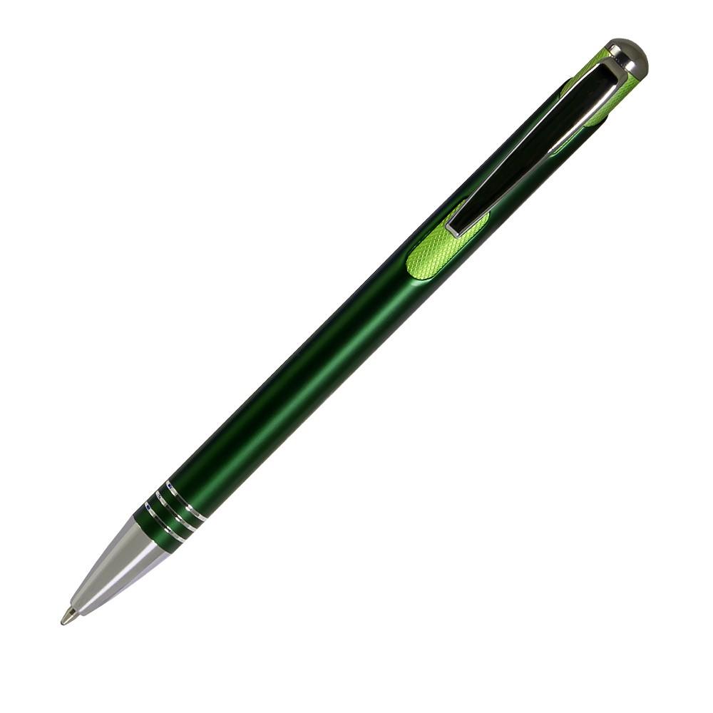 Шариковая ручка, Bello, нажимной мех-м,корпус-алюминий,отд.-хром. гравир., зеленый