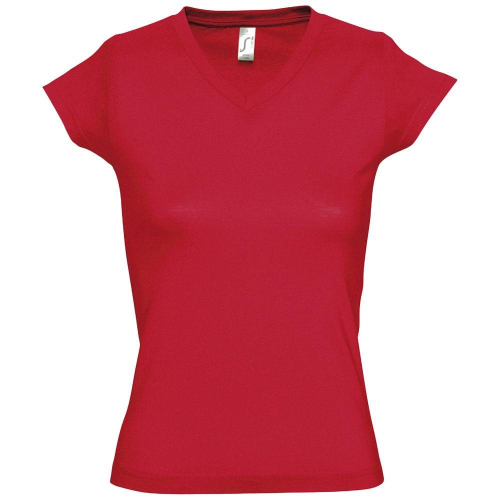 Футболка женская c V-образным вырезом MOON 150, красная