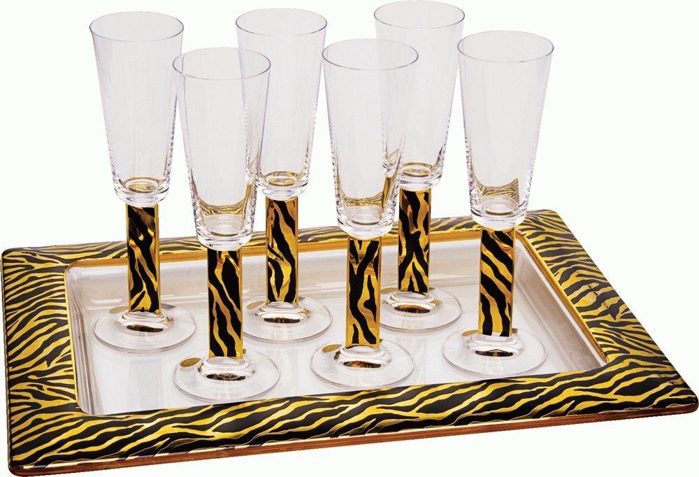 На6ор «Зебра»: 6 бокалов для шампанского, поднос