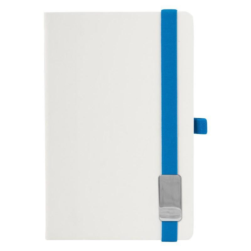РАСПРОДАЖА 449 р.Записная книга LANYBOOK, А6, обложка Tucson белый, резинка синяя, блок линейка, шильд