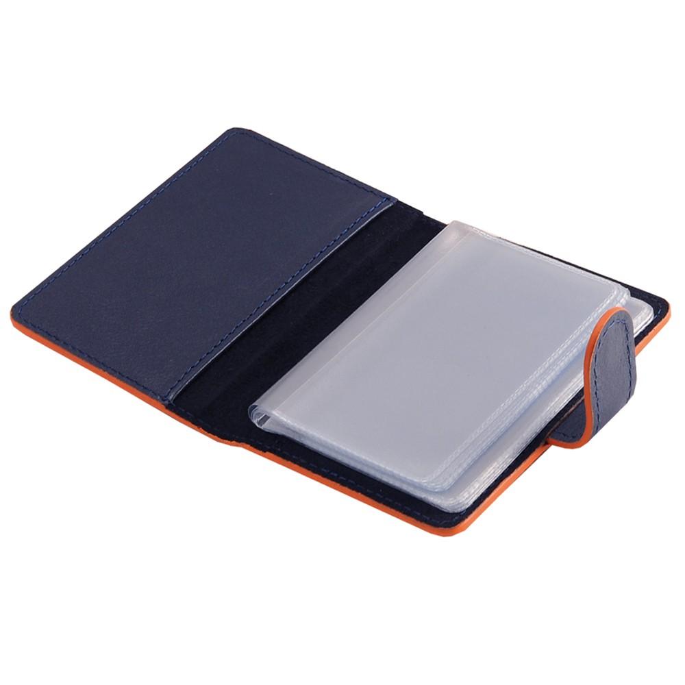 РАСПРОДАЖА Футляр для дисконтных карт (20 карт), нат. кожа, Everest, 75 х 105 мм, синий/оранж., гладкая фактура