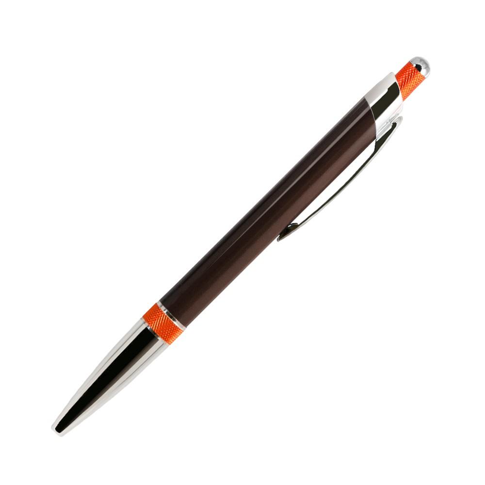 Шариковая ручка, Bali, корпус-алюминий, покрытие коричневый/оранжевый, отделка - хром. детали, в упаковке с логотипом