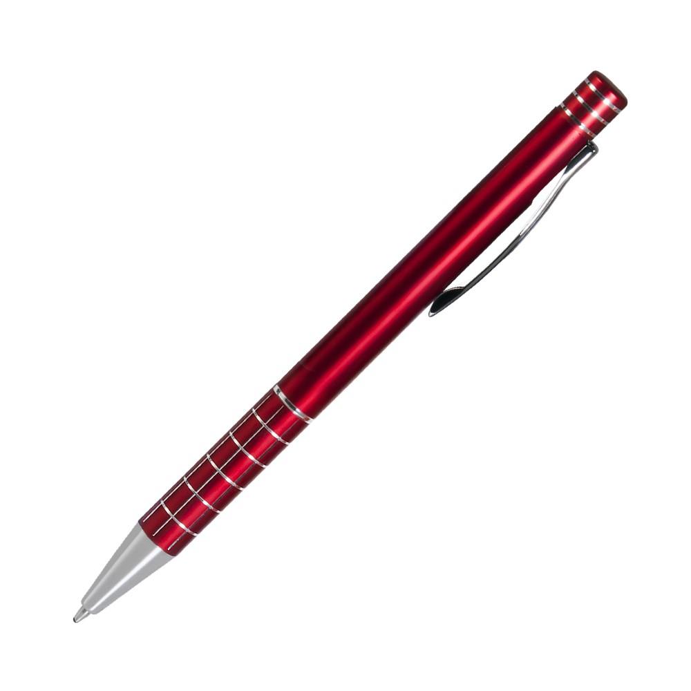 Шариковая ручка, Scotland, нажимной мех-м,корпус-алюминий, красный, матовый/отд-гравировка хром.клетка