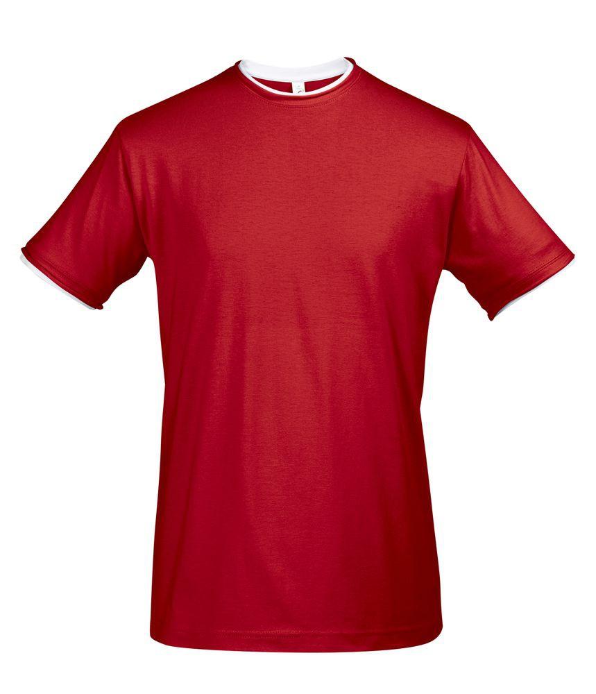 Футболка мужская с контрастной отделкой MADISON 170, красный/белый