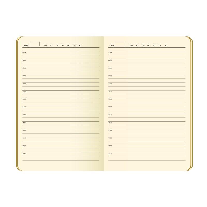 Ежедневник недатированный, Portobello Trend, Atlas, 145х210, 256 стр, черный, срез-фольга/черный