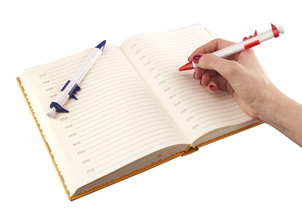 Ручка шариковая «Штангенциркуль», белая с синим
