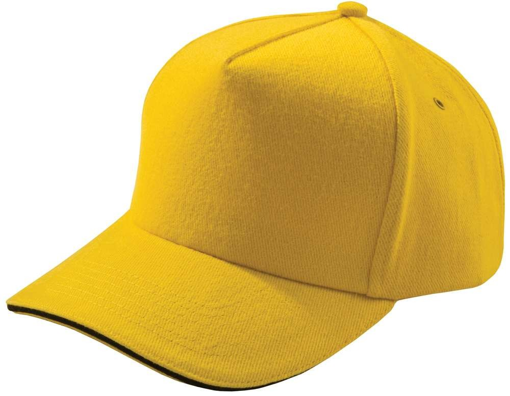 Бейсболка Unit Classic, желтая с черным кантом