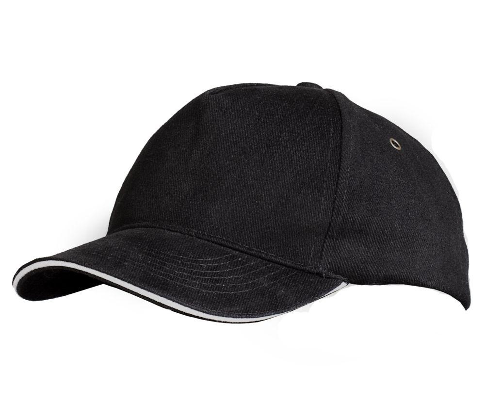 Бейсболка Unit Classic, черная с белым кантом