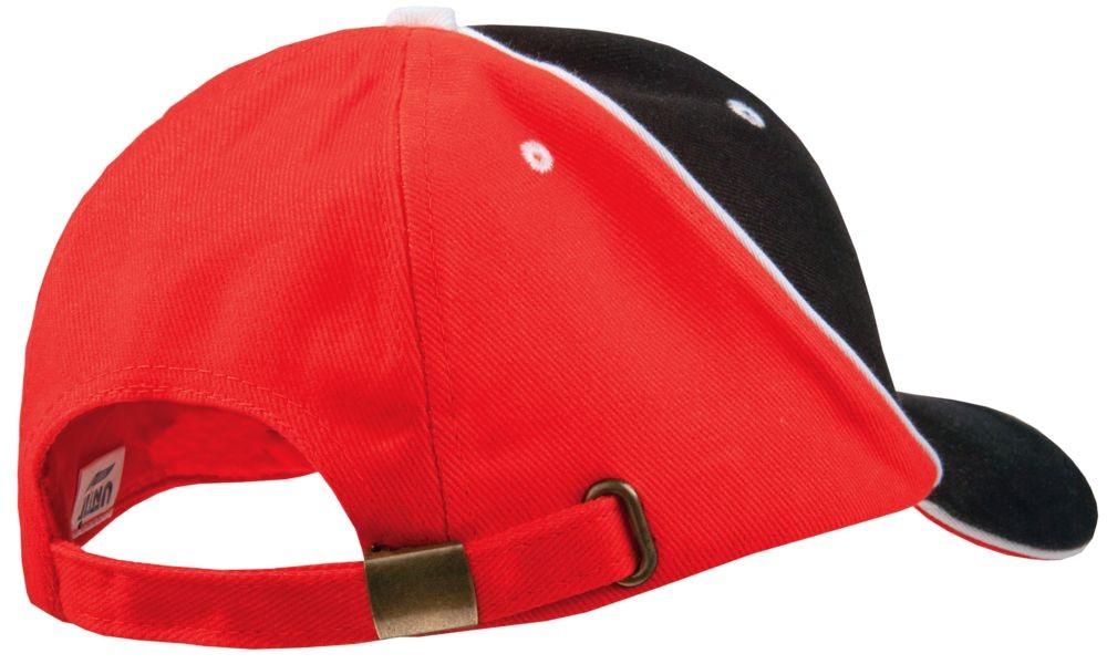Бейсболка UNIT SMART, черная с красным