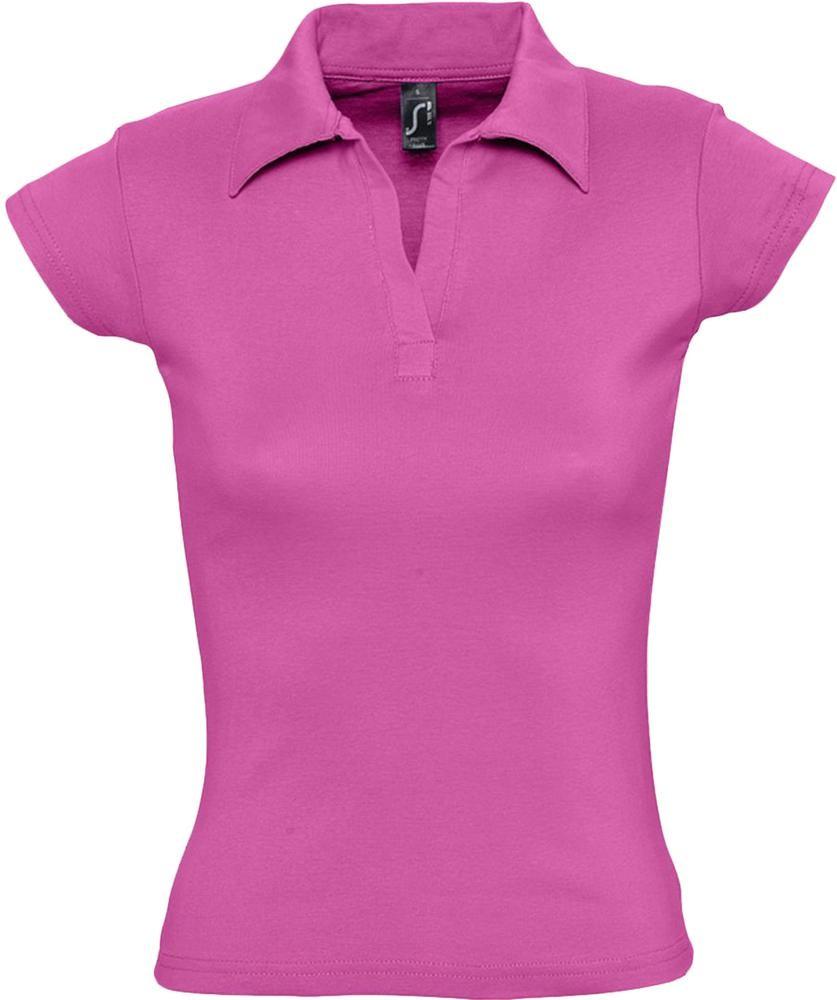 Рубашка поло женская без пуговиц PRETTY 220, ярко-розовая