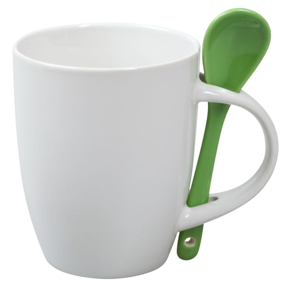 Кружка с ложкой, белая с зеленой