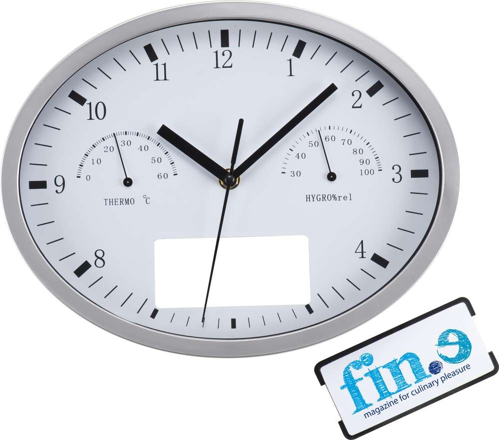 Часы настенные, INSERT3 с термометром и гигрометром, белые