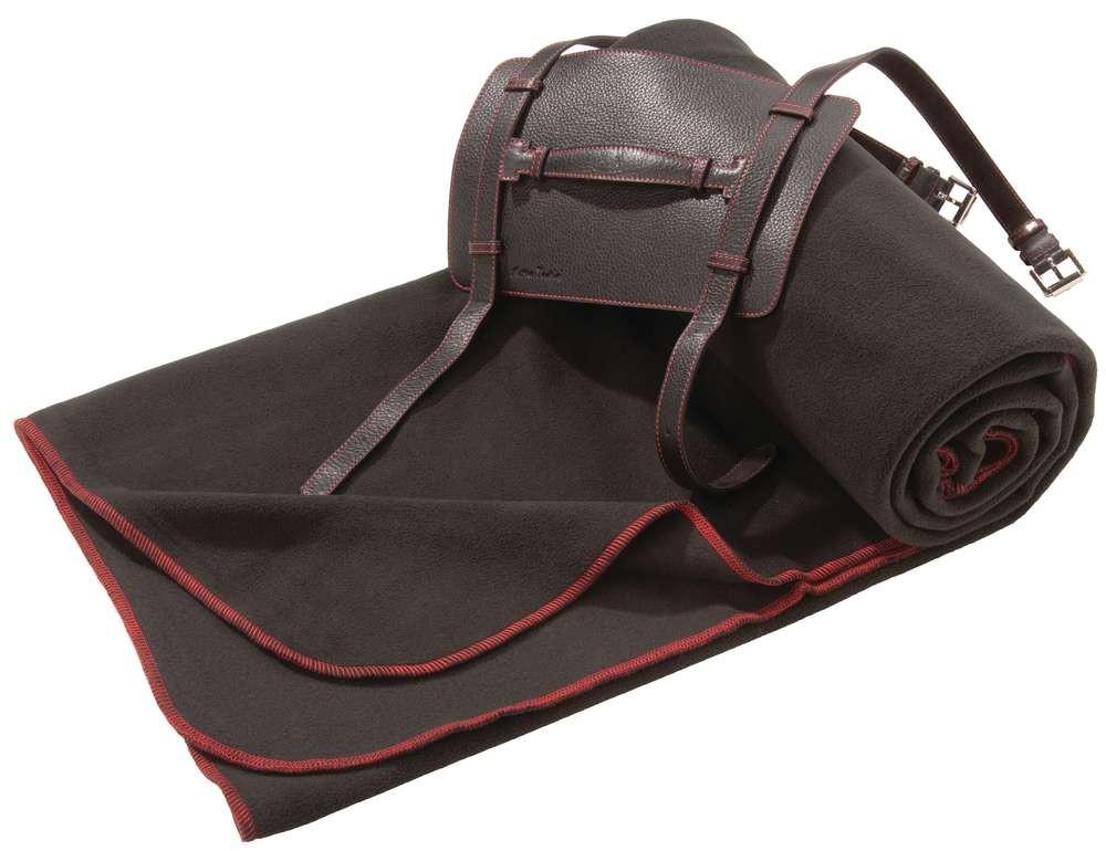 Дорожный плед Viaggi, черный с красной отделкой