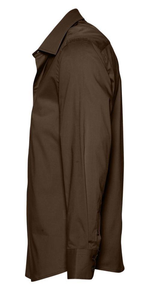 Рубашка мужская с длинным рукавом BRIGHTON, темно-коричневая